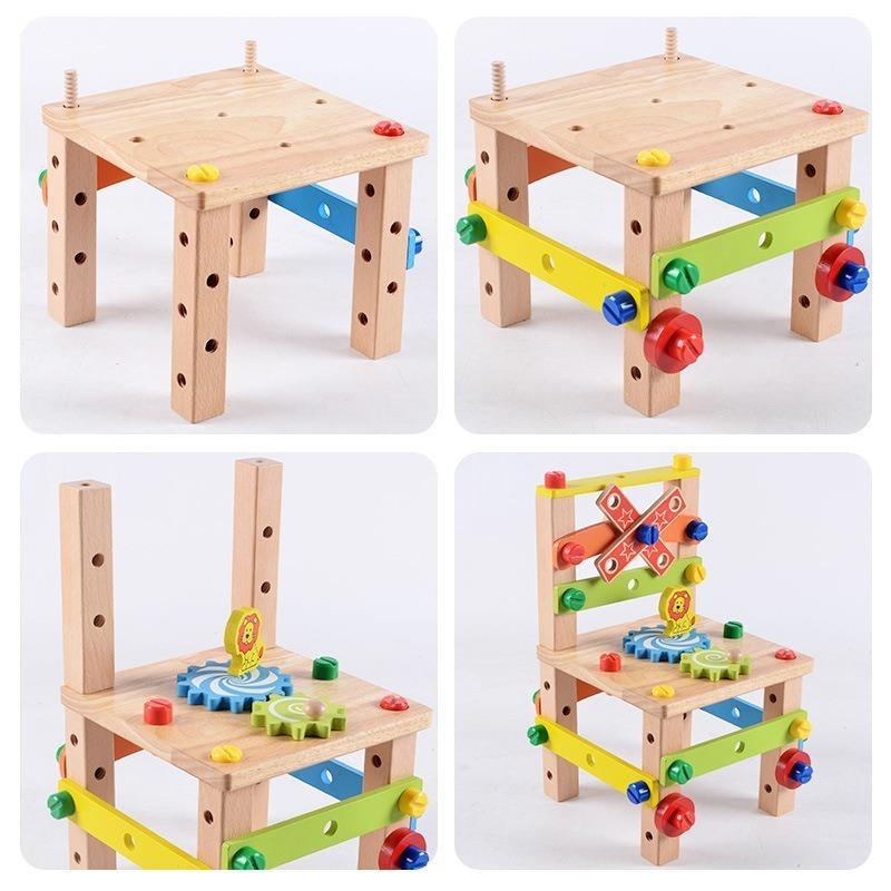 ◆最安にします◆子供用木製おもちゃ 知育玩具 積み木ブロック 椅子工作 組み立て 学習教育 変形 トレーニング 幼児 幼稚園学習 AT10571_画像4