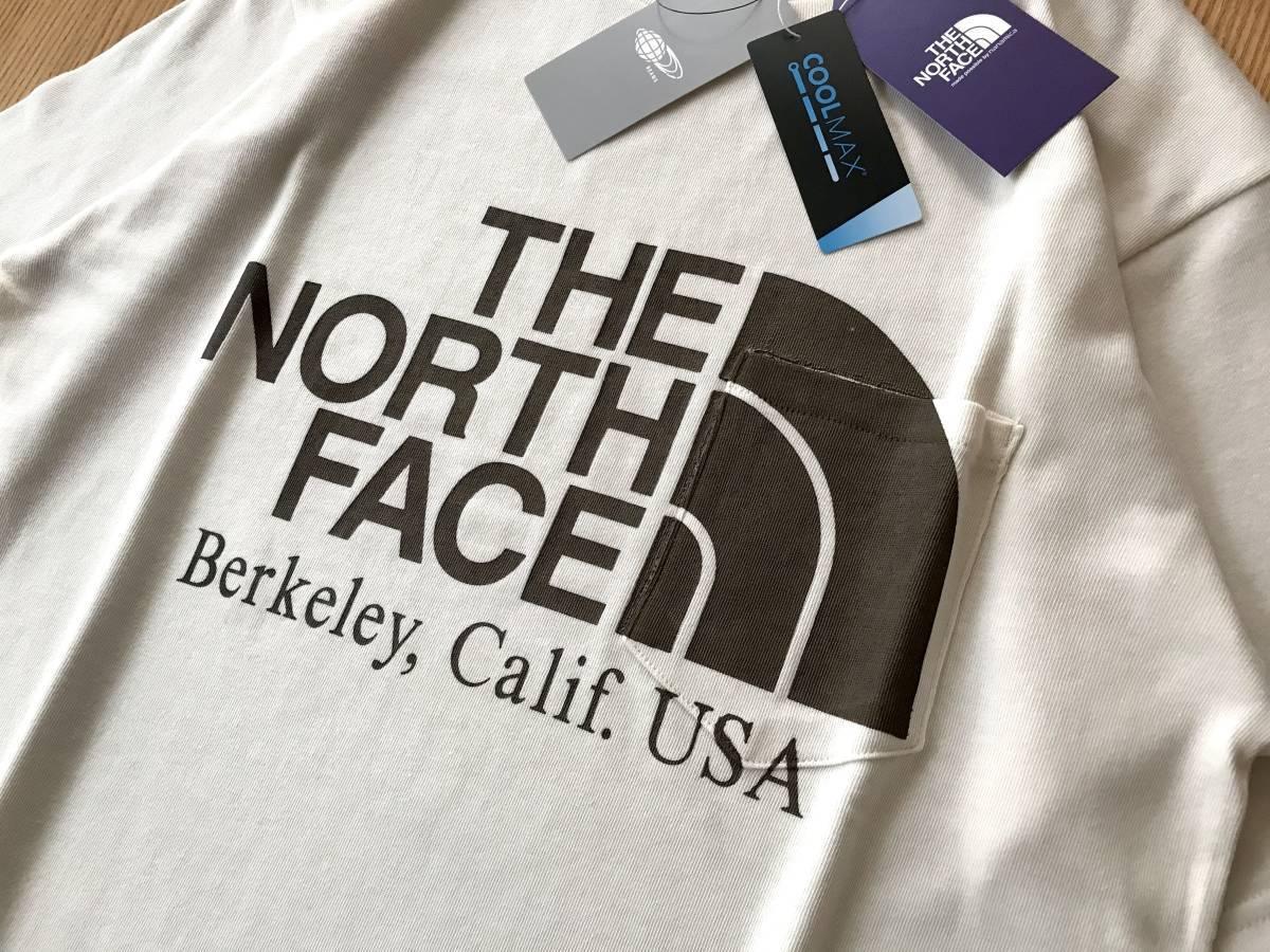 別注 限定色★ THE NORTH FACE PURPLE LABEL 別注 BEAMS BOY / ベージュ / L / H/S Logo Pocket Tee ノースフェイス ビームス Tシャツ_画像3