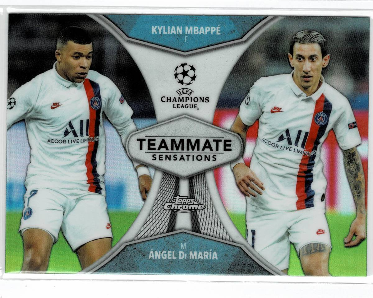 2019-20 Topps Chrome UEFA Champions League Kylian Mbappe/Angel Di Maria Teammate Sensations_画像1