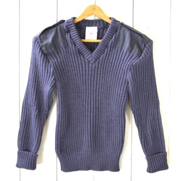 0TL57】美品 ウーリープーリー THE woolly pully ウール ニットセーター コマンドセーター 34 / S ライトネイビー エルボーパッチ_画像1