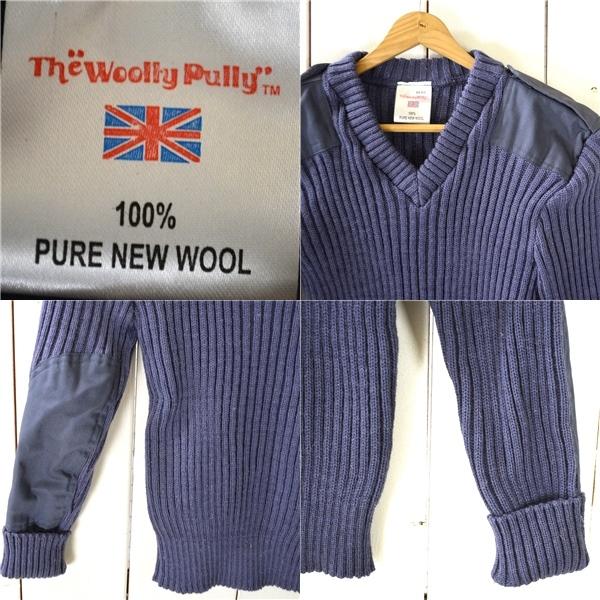 0TL57】美品 ウーリープーリー THE woolly pully ウール ニットセーター コマンドセーター 34 / S ライトネイビー エルボーパッチ_画像3