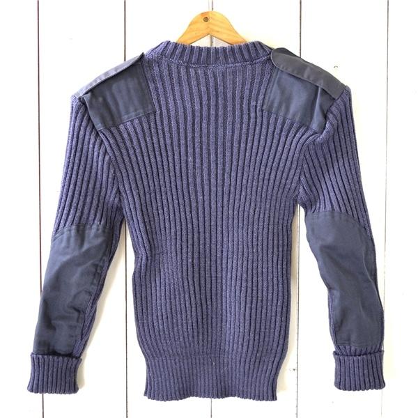 0TL57】美品 ウーリープーリー THE woolly pully ウール ニットセーター コマンドセーター 34 / S ライトネイビー エルボーパッチ_画像2