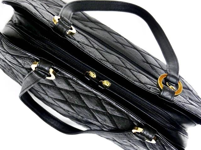 即決★N.B.★レザーハンドバッグ パッチワーク メンズ 黒 オーストリッチ型押し 本革 トートバッグ 本皮 かばん レディース 手提げバッグ_画像7