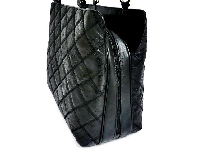 即決★N.B.★レザーハンドバッグ パッチワーク メンズ 黒 オーストリッチ型押し 本革 トートバッグ 本皮 かばん レディース 手提げバッグ_画像5