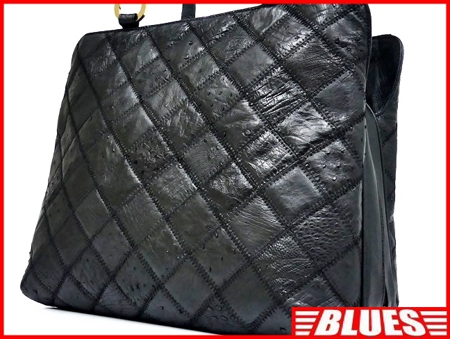 即決★N.B.★レザーハンドバッグ パッチワーク メンズ 黒 オーストリッチ型押し 本革 トートバッグ 本皮 かばん レディース 手提げバッグ_画像1