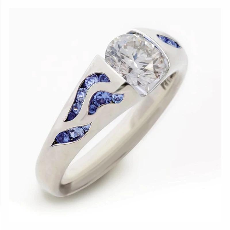ファッション女性リングクラシック結婚指輪女性多色ラインクリスタルリング女性のためのジュエリー記念ギフト_画像2