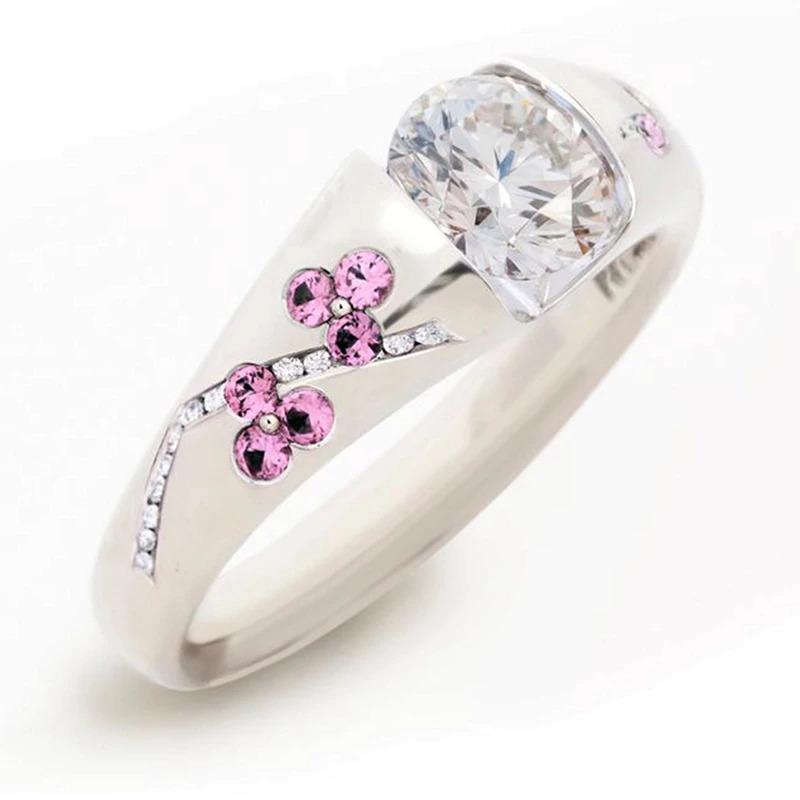 ファッション女性リングクラシック結婚指輪女性多色ラインクリスタルリング女性のためのジュエリー記念ギフト_画像6