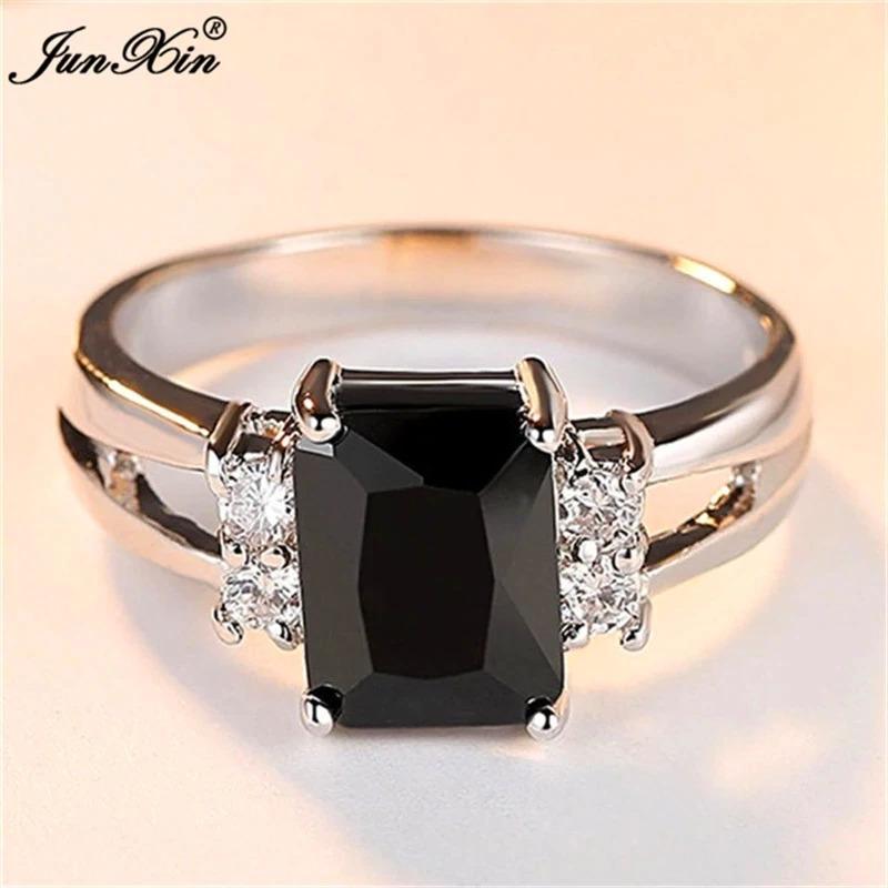 高級女性ピンク赤、黄、黒石リングファッションシルバーカラーのウェディングジュエリークリスタル約束の婚約指輪_画像2