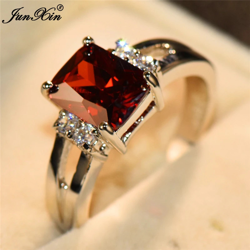 高級女性ピンク赤、黄、黒石リングファッションシルバーカラーのウェディングジュエリークリスタル約束の婚約指輪_画像3