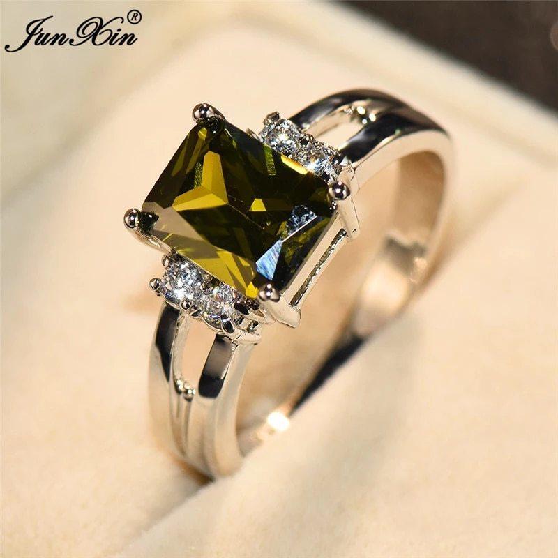 高級女性ピンク赤、黄、黒石リングファッションシルバーカラーのウェディングジュエリークリスタル約束の婚約指輪_画像5
