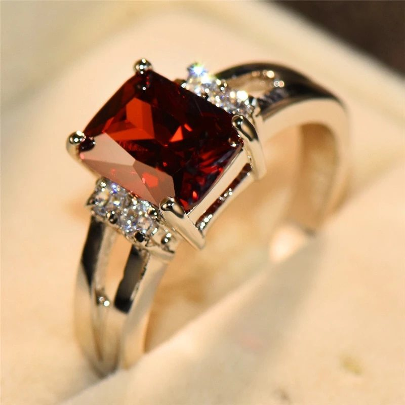 高級女性ピンク赤、黄、黒石リングファッションシルバーカラーのウェディングジュエリークリスタル約束の婚約指輪_画像7