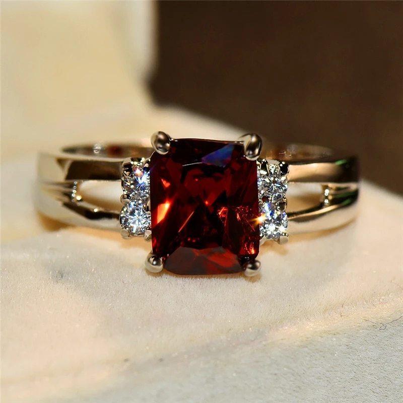 高級女性ピンク赤、黄、黒石リングファッションシルバーカラーのウェディングジュエリークリスタル約束の婚約指輪_画像6