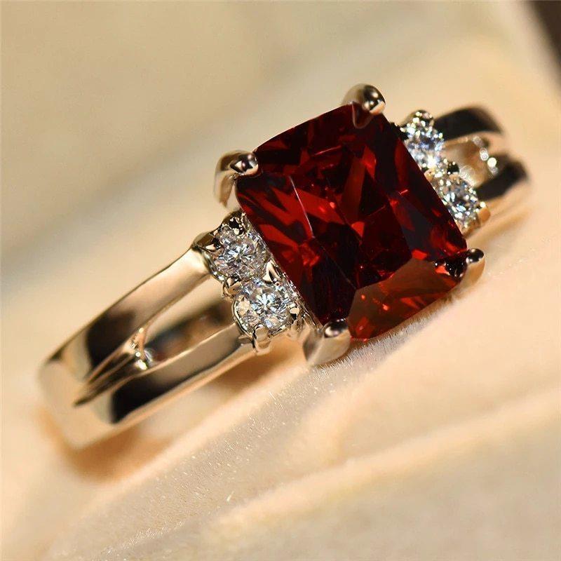 高級女性ピンク赤、黄、黒石リングファッションシルバーカラーのウェディングジュエリークリスタル約束の婚約指輪_画像8