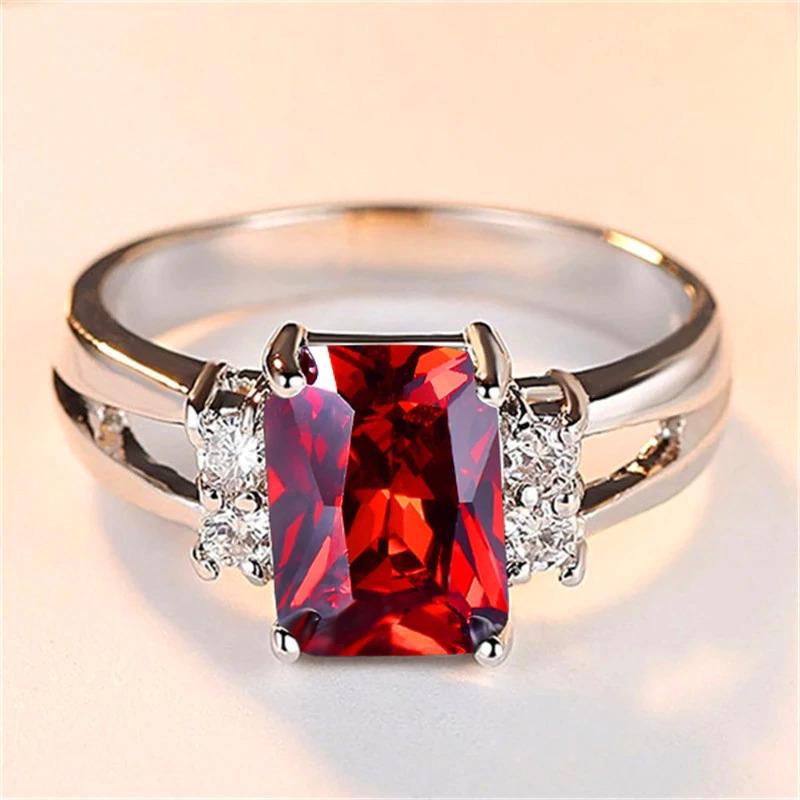 高級女性ピンク赤、黄、黒石リングファッションシルバーカラーのウェディングジュエリークリスタル約束の婚約指輪_画像9