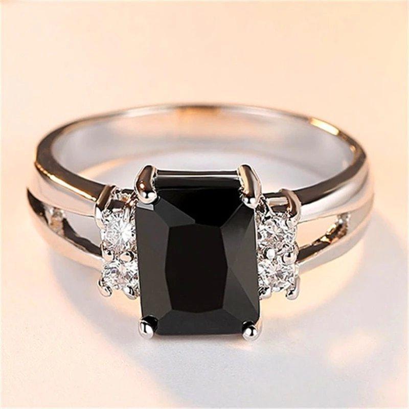高級女性ピンク赤、黄、黒石リングファッションシルバーカラーのウェディングジュエリークリスタル約束の婚約指輪_画像10