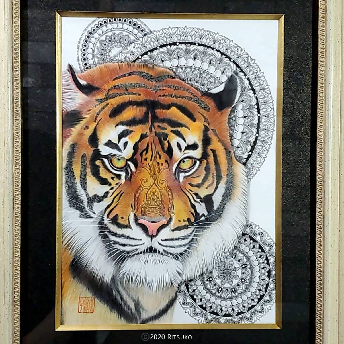 原画 1点もの 色鉛筆画 ボールペン画 日本人作家 虎 トラ 絵画 絵 アート インテリア 開運 虎の絵_画像1