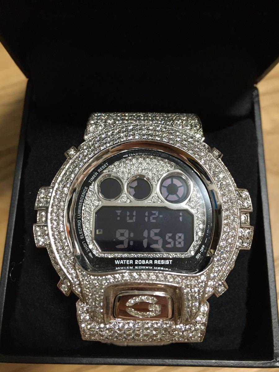 G-SHOCK 最高級フルカスタム DW6900 ダイヤモンド Gショック クロコダイル ホワイトレザー G-BALLER 正規品 ジーボーラー クロムハーツ