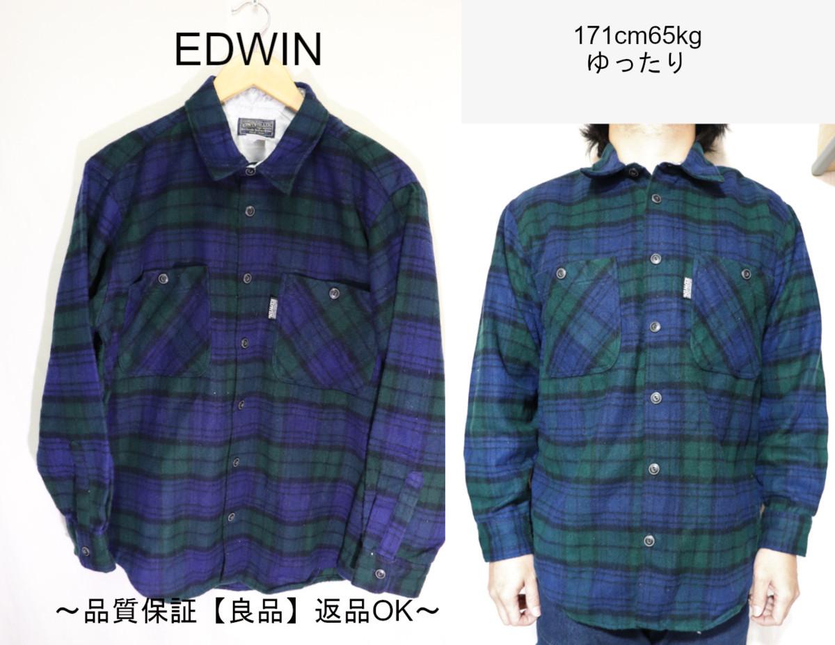 【メンズ】【良品保証返品OK】EDWINウールシャツ/アメカジタータンマドラスM_画像1