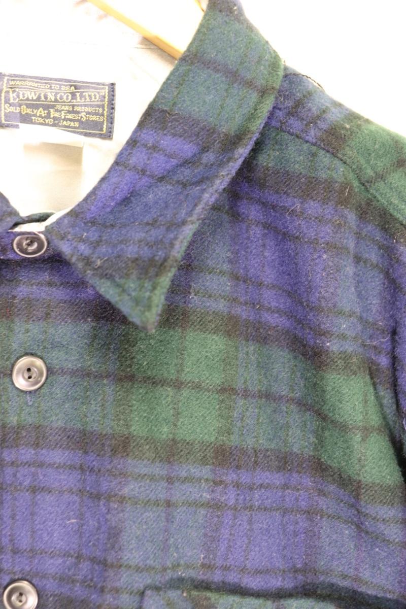 【メンズ】【良品保証返品OK】EDWINウールシャツ/アメカジタータンマドラスM_画像6