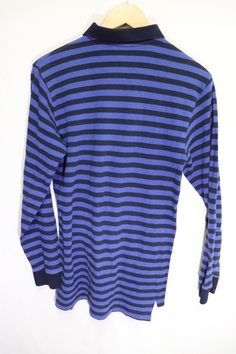 【メンズ】【良品保証返品OK】ラルフローレンボーダーロングポロシャツネイビーブルー/老舗トラッド8090's_画像6