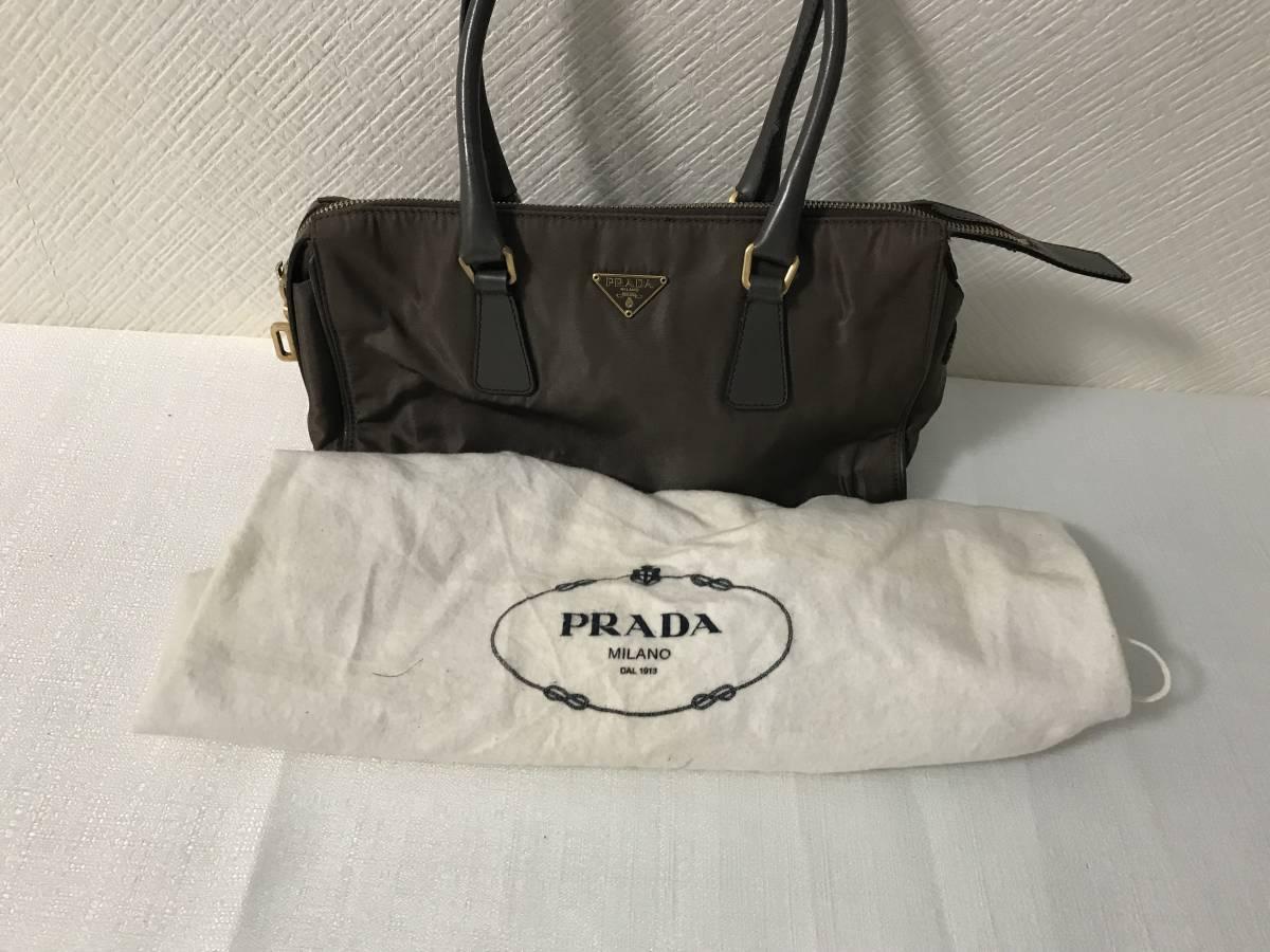 本物プラダPRADA本革レザーナイロンビジネスミニハンドバッグトートバック旅行トラベルグレーメンズレディース