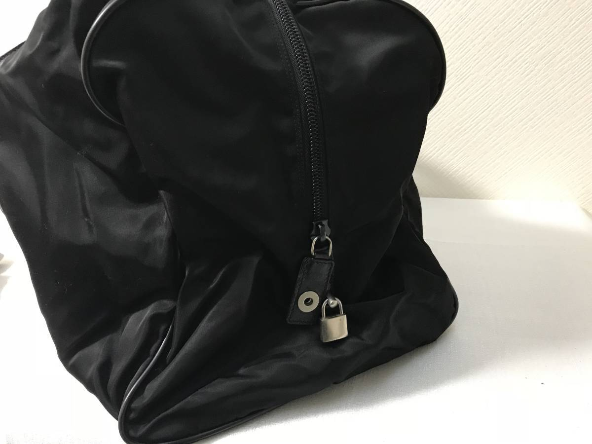 本物プラダPRADA本革サフィアーノレザーナイロンデカビッグボストンバッグトートビジネスバック旅行トラベル黒ブラックメンズレディース
