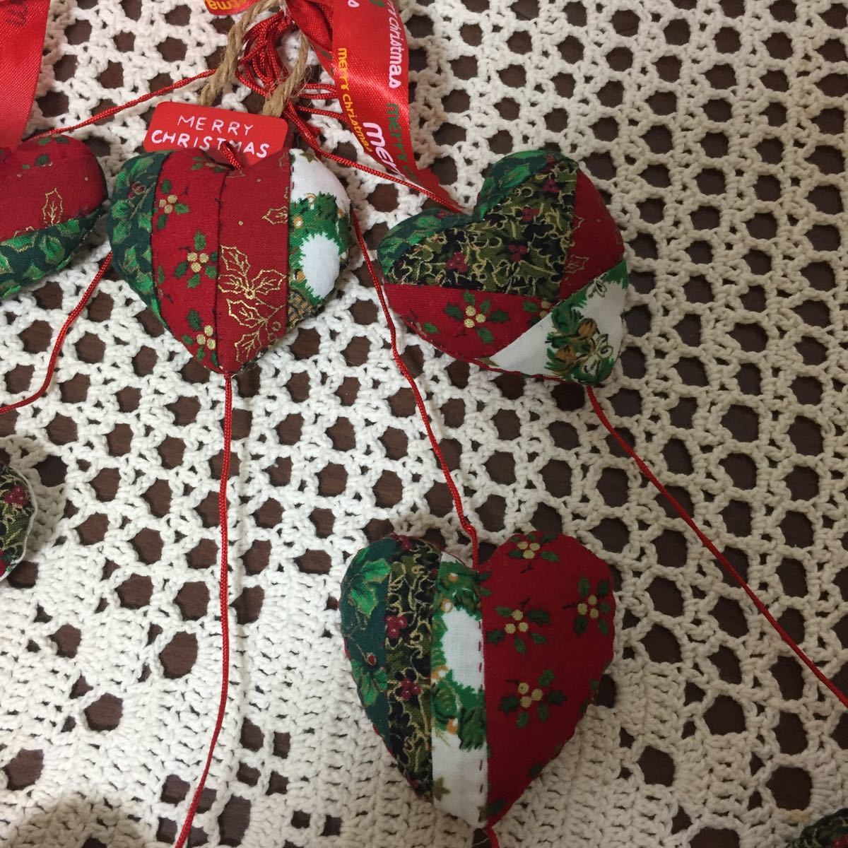 手作り☆パッチワークキルト、クリスマスハートのオーナメント