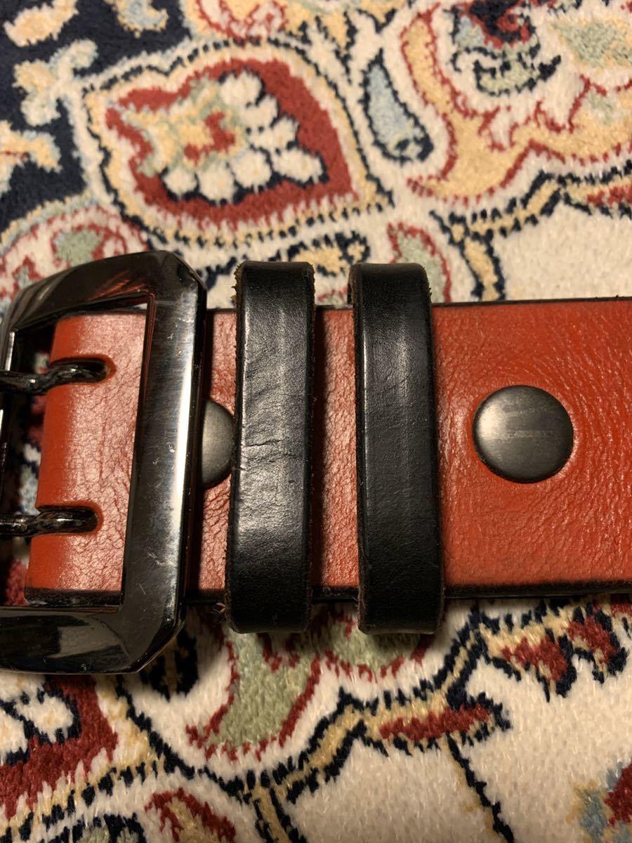 オリジナル uk サドルレザー レッド ギャリソン ベルト 8角 ガンメタ バックル 48mm 5mm 厚 w32 w33 クロネコ宅急便着払い_画像5