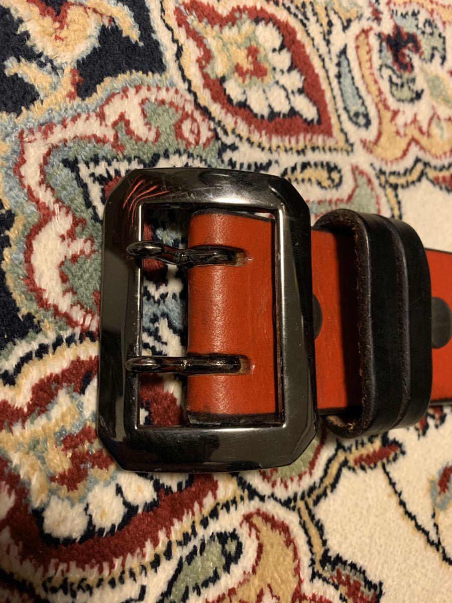 オリジナル uk サドルレザー レッド ギャリソン ベルト 8角 ガンメタ バックル 48mm 5mm 厚 w32 w33 クロネコ宅急便着払い_画像3