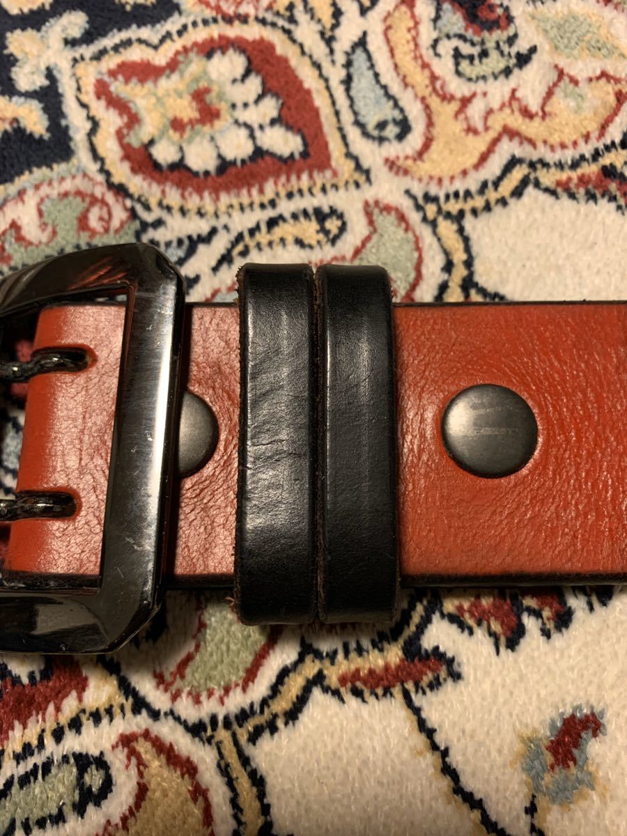 オリジナル uk サドルレザー レッド ギャリソン ベルト 8角 ガンメタ バックル 48mm 5mm 厚 w32 w33 クロネコ宅急便着払い_画像4