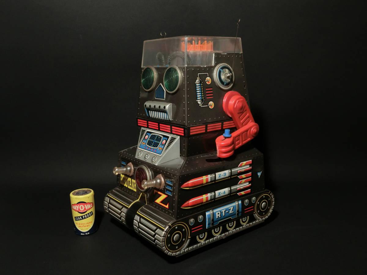 昭和レトロ 野村トーイ製『日本語版トーキングアクション ロボタンクZ(ROBOTANK Z)』箱付 バッテリー/ブリキ玩具/SF/戰車_画像3