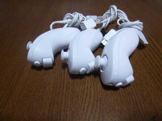 N055【送料無料 動作確認済】Wii ヌンチャク 3個セット ホワイト (クリーニング済)白  NINTENDO 任天堂 純正