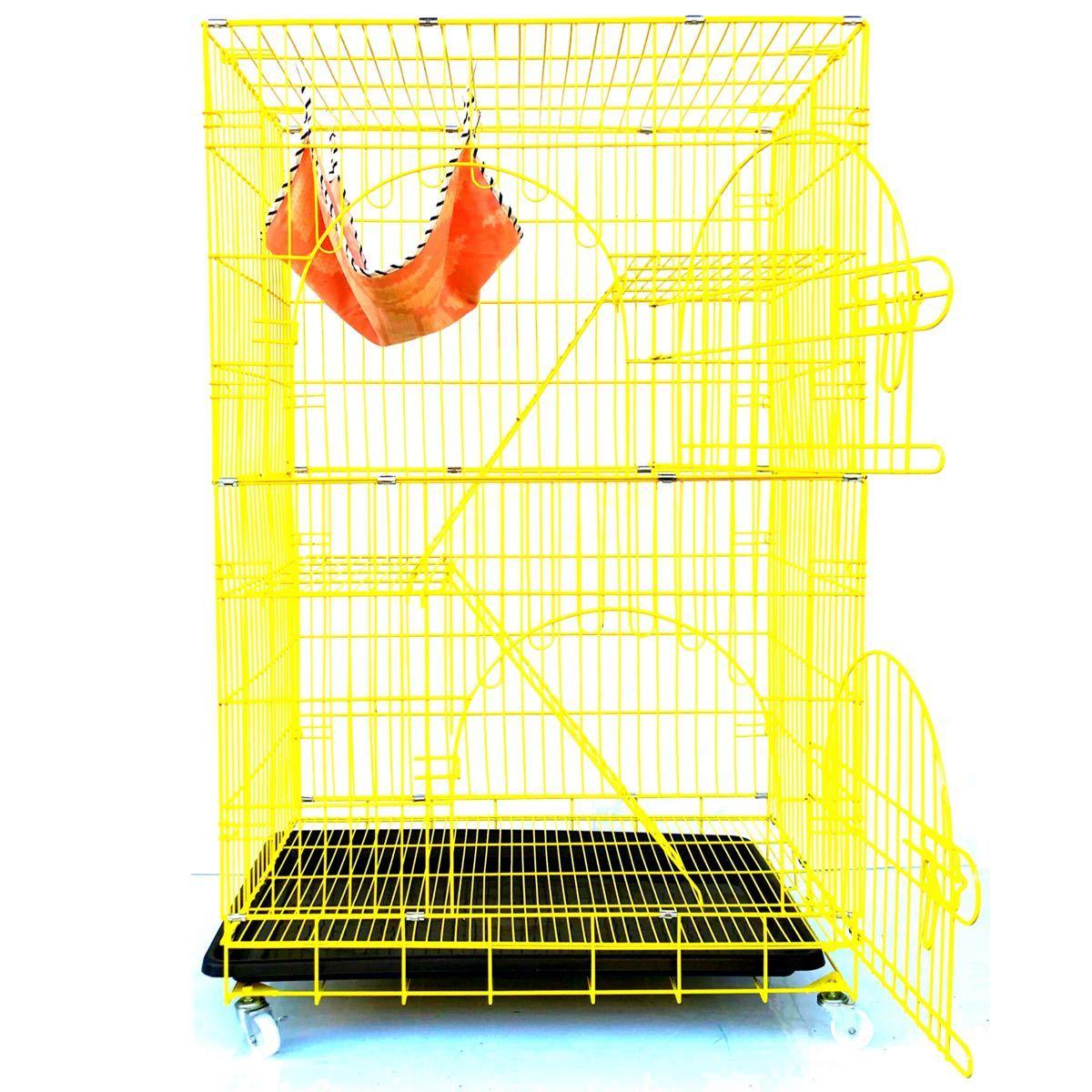 猫ケージ キャットケージ ペットケージ 折りたたみ式 2段3段 大型 ハンモック付 猫 鳥 小動物 ケージ ハウス イエロー 黄