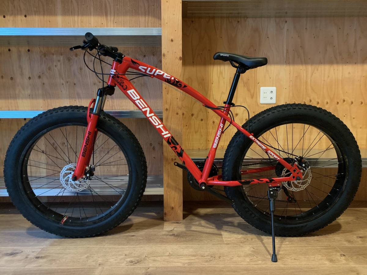 □新品未使用 26×4.0 ファットバイク B 赤/ビーチクルーザー 21段変速 自転車 コロナ対策 アウトドア ロードバイク マウンテンバイク□