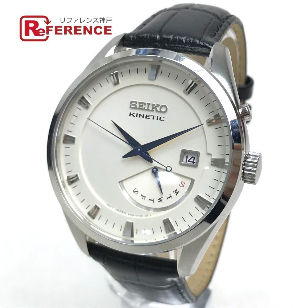 SEIKO セイコー 5M84-0AB0 キネティック メンズ腕時計 SS/革 メンズ ブラック 黒