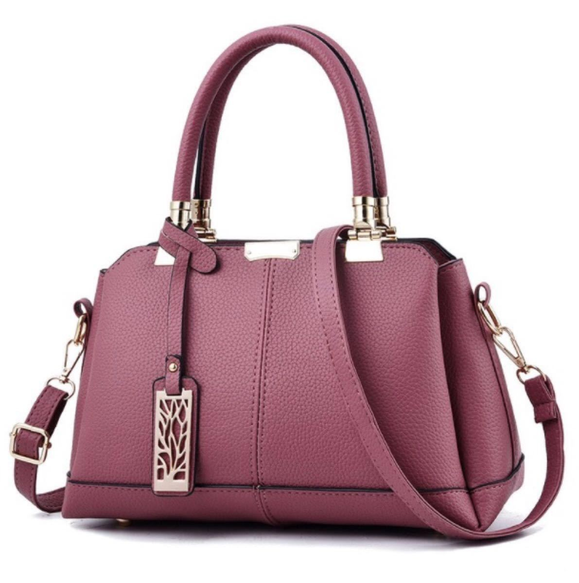手提げバッグ 2Way ハンドバッグ ショルダーバッグ ピンク