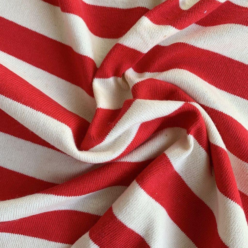 はぎれ 赤 ストライプ ボーダー レッド ストレッチ 伸縮 生地 リメイク 雑貨 ハンドメイド 手作り 布 ニット ミシン 縫製 激安 スカート