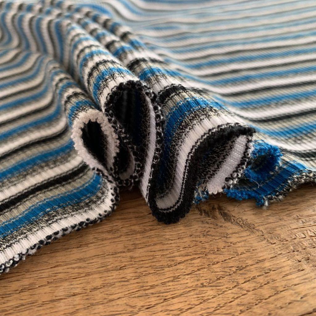 青系 ニット ストライプ ストレッチ 伸縮 生地 リメイク 雑貨 ハンドメイド 手作り 布 ブルー ジャージ Tシャツ はぎれ ミシン 材料