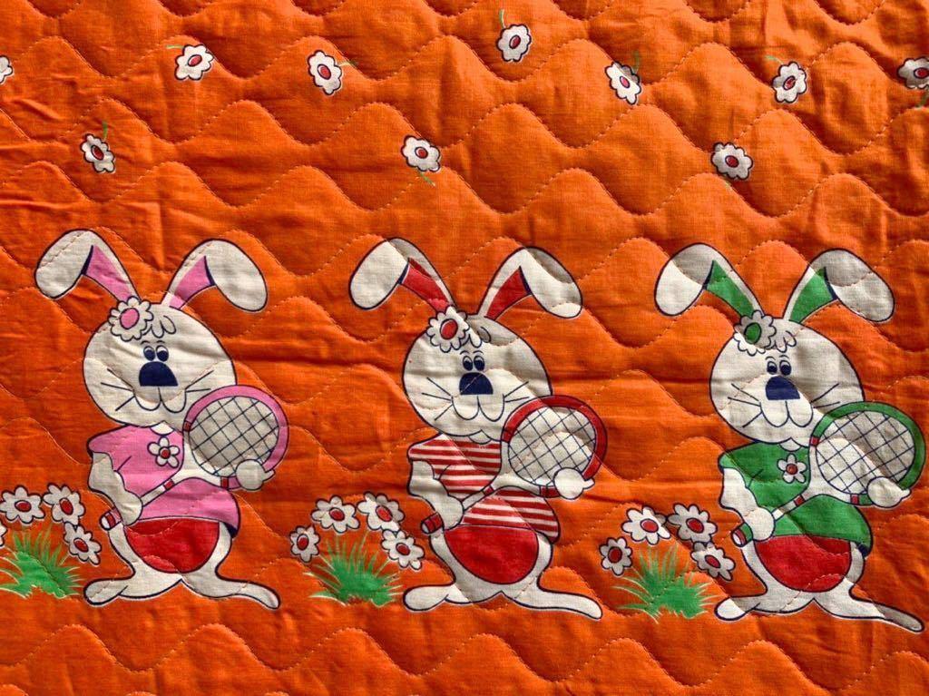 キルティング 動物柄 昭和レトロ アンティーク デットストック はぎれ ウサギ柄 生地 リメイク 雑貨 コレクター ハンドメイド 布 手作り