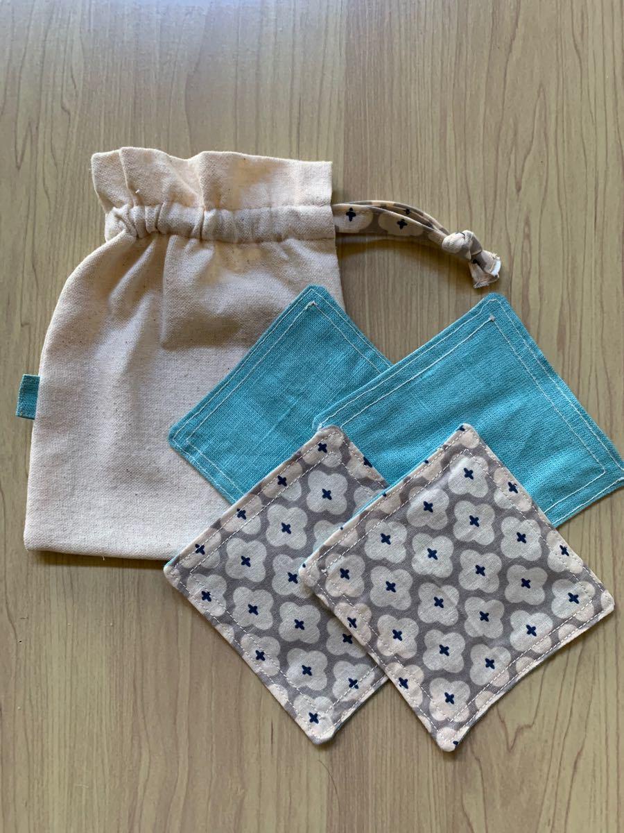 ハンドメイド コースター4枚&巾着袋セット ブルー×花柄