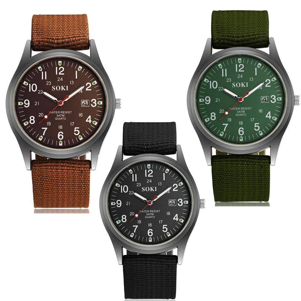 2020ミリタリー日付キャンバスバンドステンレススチールスポーツクォーツ腕時計メンズ腕時計防水レロジオMASCULINOリロイ_画像6