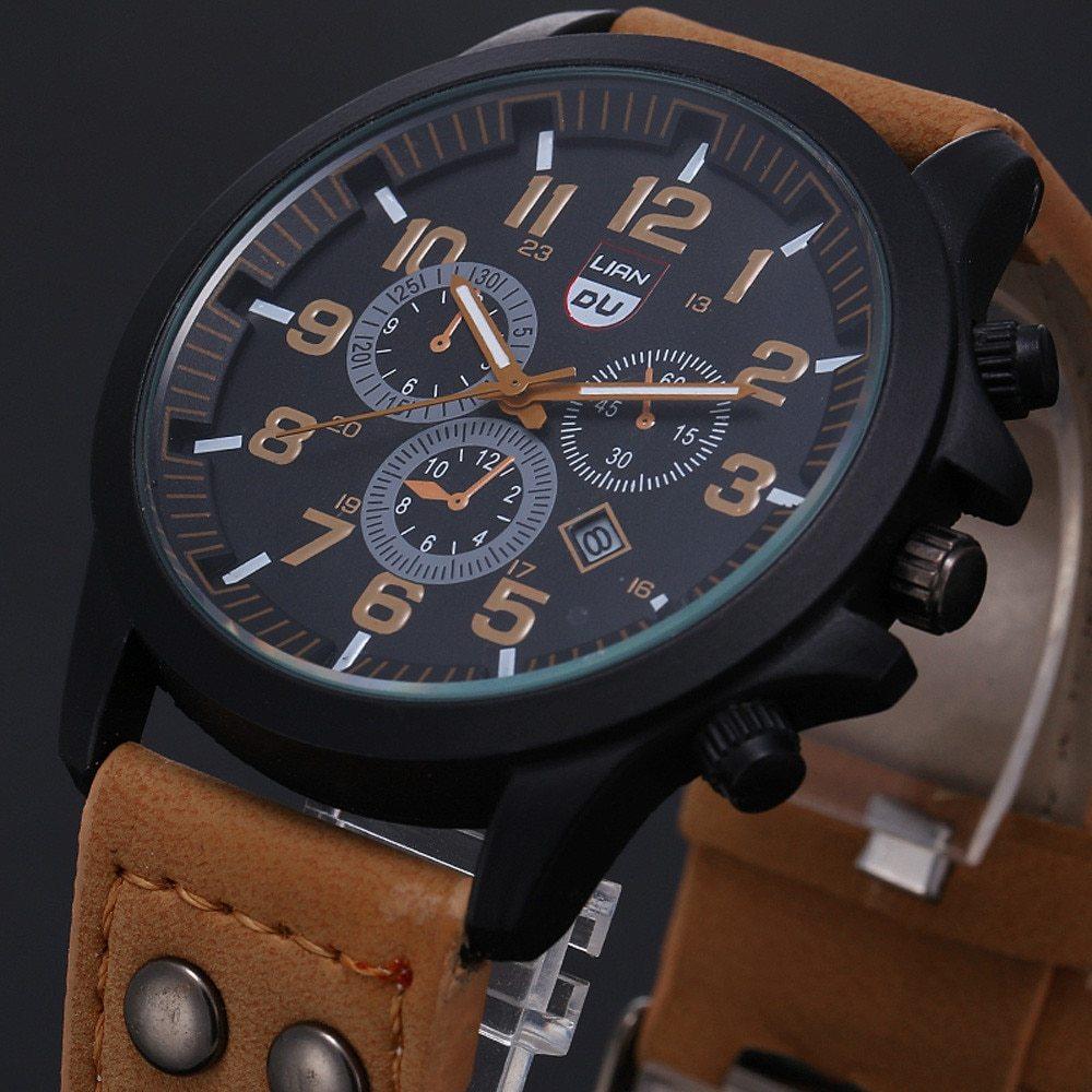 2020 ヴィンテージ古典的な腕時計メンズ腕時計ステンレス鋼防水日付レザーストラップスポーツクォーツ軍レロジオ MASCULINO リロイ_画像1