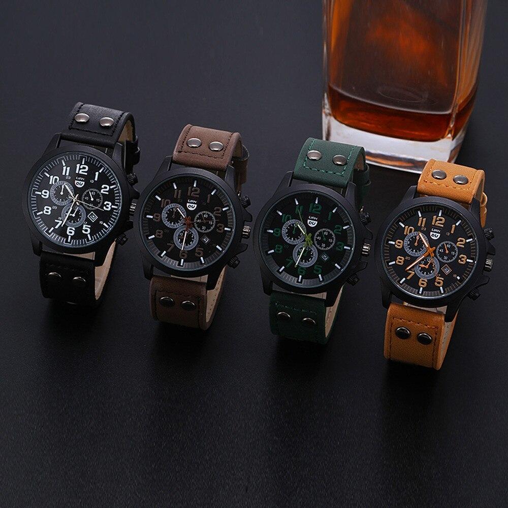 2020 ヴィンテージ古典的な腕時計メンズ腕時計ステンレス鋼防水日付レザーストラップスポーツクォーツ軍レロジオ MASCULINO リロイ_画像2