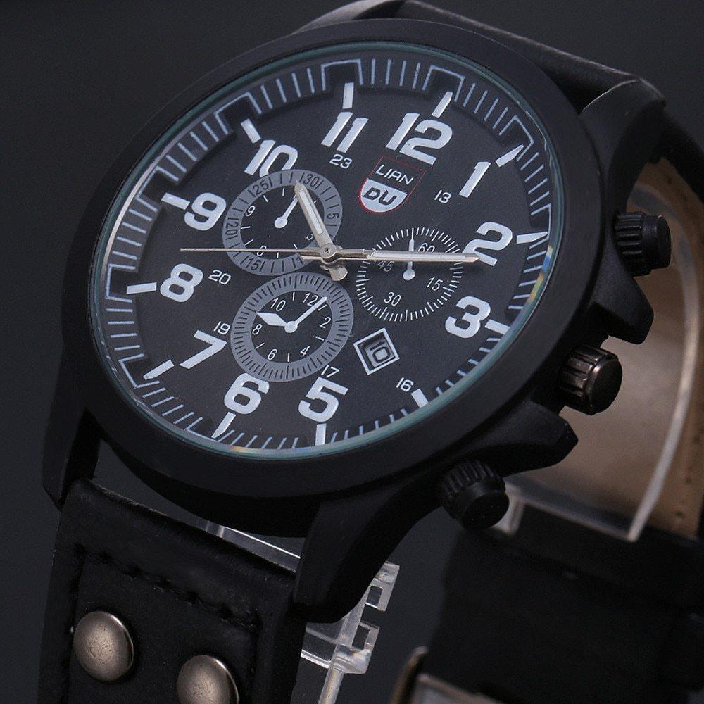 2020 ヴィンテージ古典的な腕時計メンズ腕時計ステンレス鋼防水日付レザーストラップスポーツクォーツ軍レロジオ MASCULINO リロイ_画像5