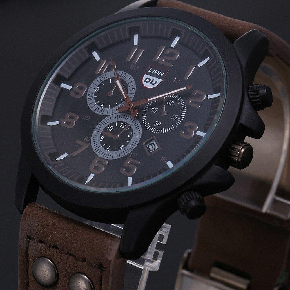 2020 ヴィンテージ古典的な腕時計メンズ腕時計ステンレス鋼防水日付レザーストラップスポーツクォーツ軍レロジオ MASCULINO リロイ_画像6