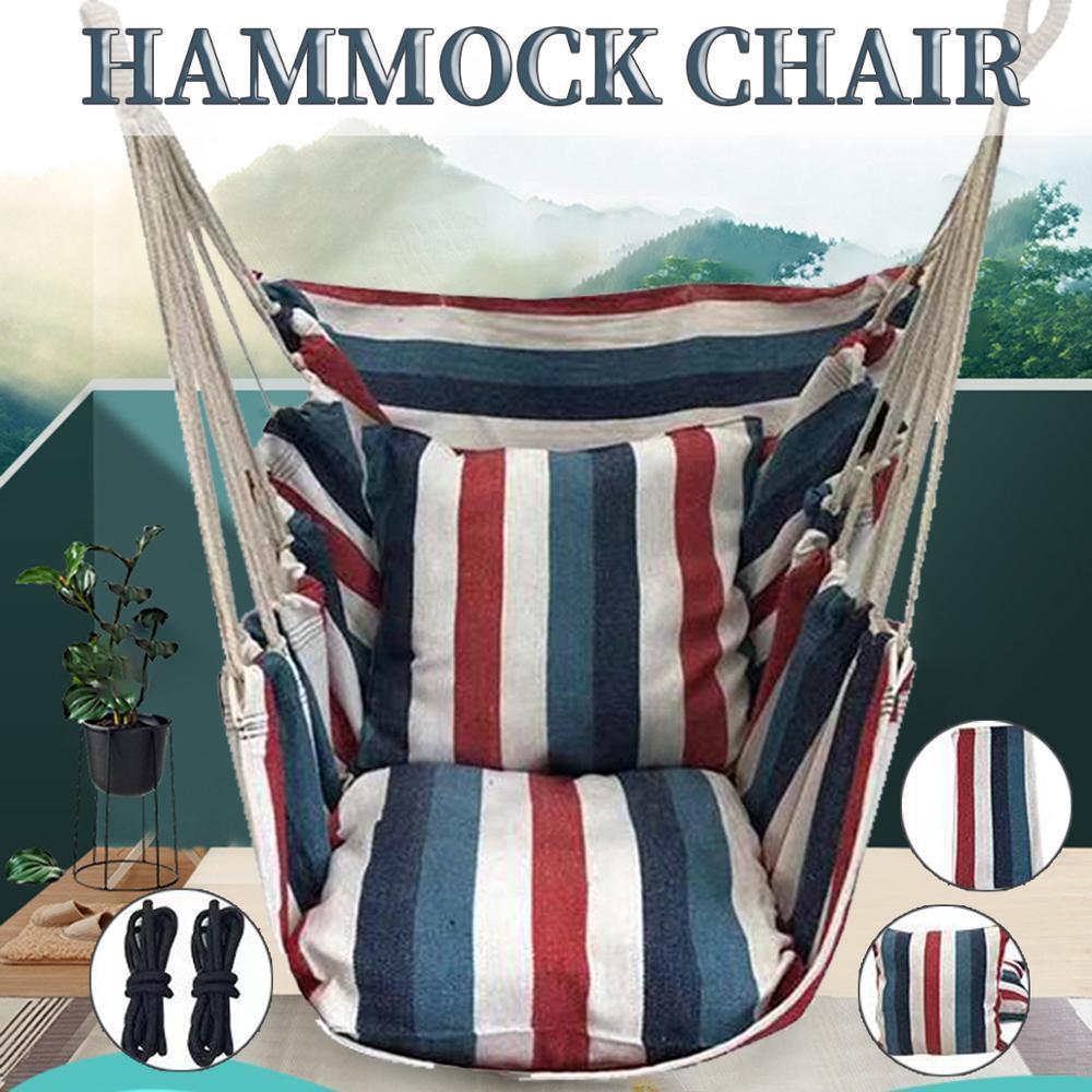 ポータブルハンモック椅子ぶら下げロープ椅子スイングチェアシートと 2 枕庭屋内屋外ファッショナブルなハンモックスイング_画像1