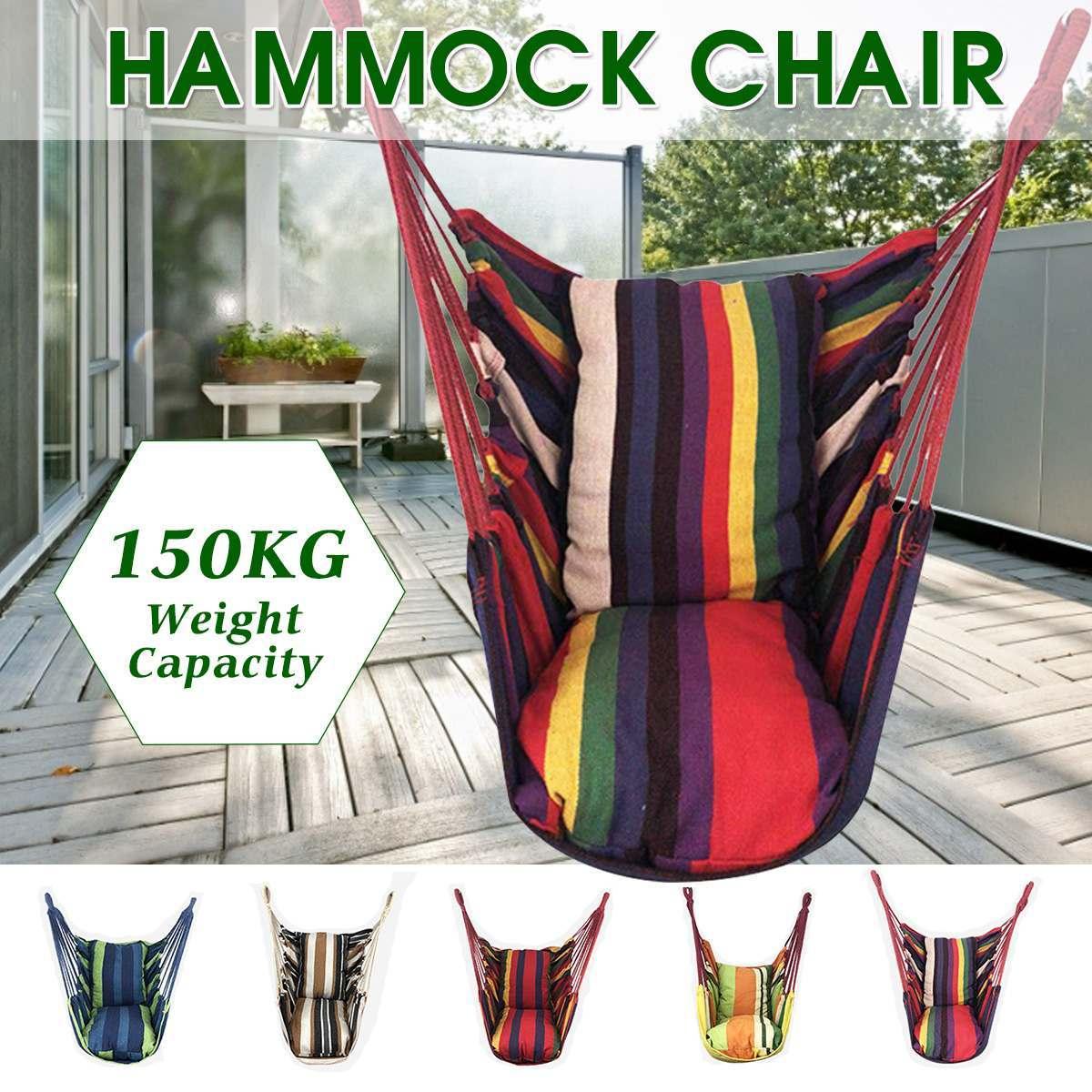ポータブルハンモック椅子ぶら下げロープ椅子スイングチェアシートと 2 枕庭屋内屋外ファッショナブルなハンモックスイング_画像2
