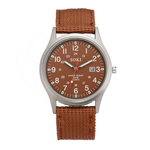 2020ミリタリー日付キャンバスバンドステンレススチールスポーツクォーツ腕時計メンズ腕時計防水レロジオMASCULINOリロイ_画像9