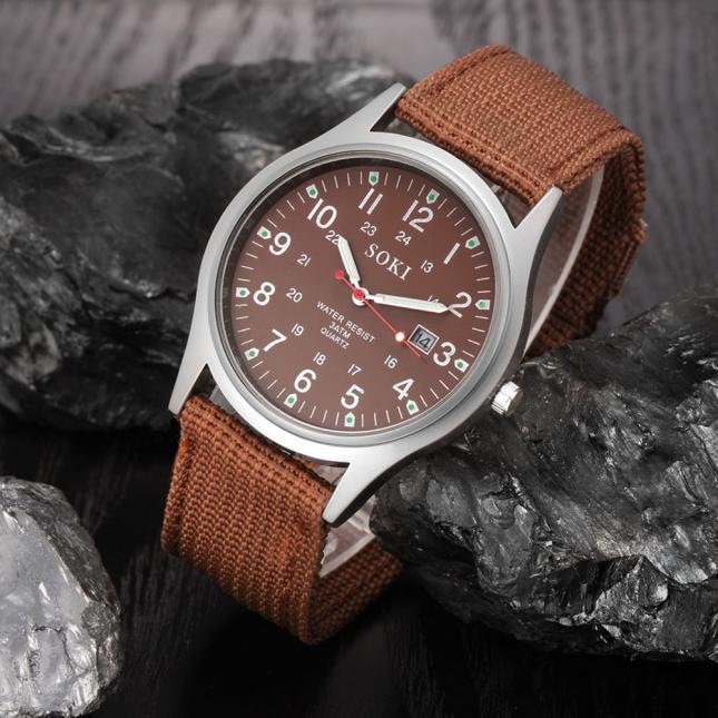 2020ミリタリー日付キャンバスバンドステンレススチールスポーツクォーツ腕時計メンズ腕時計防水レロジオMASCULINOリロイ_画像3
