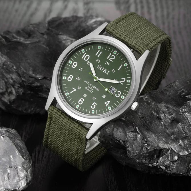 2020ミリタリー日付キャンバスバンドステンレススチールスポーツクォーツ腕時計メンズ腕時計防水レロジオMASCULINOリロイ_画像1